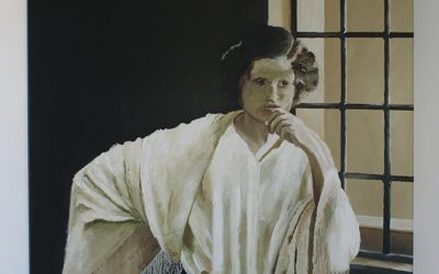 Schilderij 'Anna' in sepia tinten